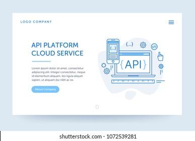 API platform illustration. Web banner. Blue flat line style. Home page concept. UI design mockup.