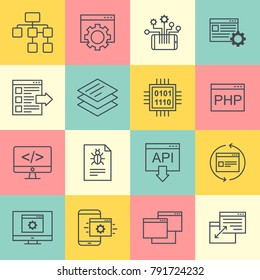 Api technology interactive vector icons