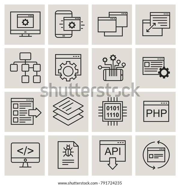 Api Technology Interactive Vector Icons Stock Vector