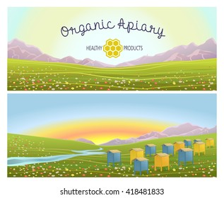 Apiary in alpine meadows in mountains. Honey Farm. Beehive set.