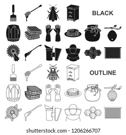 Apiary and beekeeping black icons in set collection for design.Equipment and production of honey vector symbol stock web illustration.