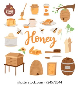 Apiary honey farm vector illustrations beekeeping honecomb jar natural organic sweet insect honied beeswax honeyed beehive beekeeper tools.