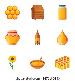 Apiary honey icon set. Cartoon set of 9 apiary honey vector icons for web design isolated on white background