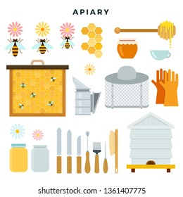 Apiary tools and equipment, set of icons. Everything for beekeeping. Bee, honey, beehive, smoker, mask, gloves, hat, beekeeper knife, brush. Vector illustration in flat style.