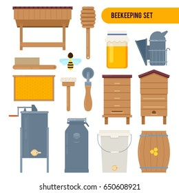 Apiary vector flat illustrations with beekeeping elements - wooden hive, honey, bees, flowers, tools beekeeper, honeycomb. Vector illustration on white background.