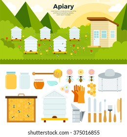 Apiary vector flat illustrations. Apiary in the garden. Organic food concept. Natural honey in banks, bees, honeycombs, bee hives, sunflower isolated on white background
