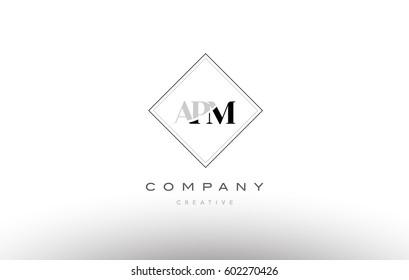 apm a p m retro vintage simple rhombus three 3 letter combination black white alphabet company logo line design vector icon template
