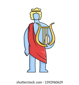 Apollo, ancient Greek god of archery, music, poetry and the sun with lyre. Ancient Greece mythology. Flat vector illustration. Isolated on white background.