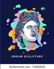 The Apollo Belvedere. Dream sculpture. Vector hand drawn illustration. T-Shirt Design & Printing, clothes.