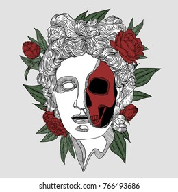 Apollo death skull. Creative modern classical Sculpture. T-Shirt Design & Printing, clothes, bags, posters, invitations, cards, leaflets etc. Vector illustration hand drawn.