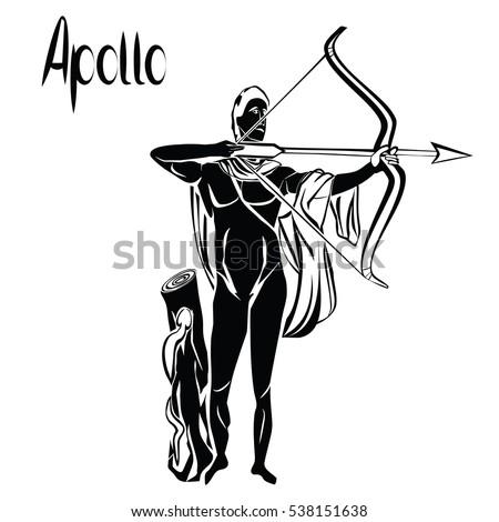 Apollo God Bow Arrow Black Vector Stock Vector Royalty Free