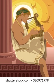 Apollo: God of the sun Apollo playing his lyre. No transparency used.