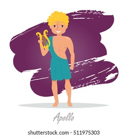 Apollo. Greek gods. Vector illustration. Cartoon character. Isolated. Flat. Mythology