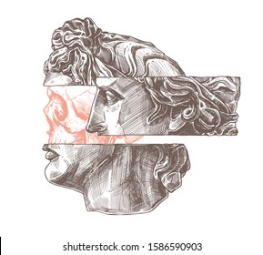 Apollo profile, ancient head and human skull in statue. Trendy fashion new retro and postmodernism print concept with, sketch detailed tattoo illustration. Surreal antique sculpture, academic drawing
