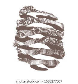 Apollo vector classical ancient statue in new retro style. Engraved etching illustration of antique sculpture made with helical spiral ribbon. Trendy fashion postmodernism print with surreal portrait