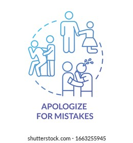 Apologize for mistakes concept icon. Friendship relationship advice. Best friends and couple conflict resolution idea thin line illustration. Vector isolated outline RGB color drawing