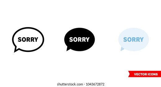 Apology icon of 3 types: color, black and white, outline. Isolated vector sign symbol.