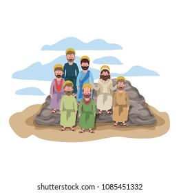 apostles group of Jesus with halo in the rock character