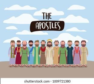 the apostles and jesus in daily scene in desert in colorful silhouette
