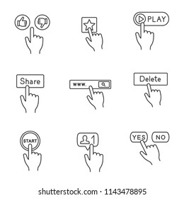 App buttons linear icons set. Dislike and like, add favorite, play, share, search, delete, start, follower, yes or no. Thin line contour symbols. Isolated vector outline illustrations. Editable stroke