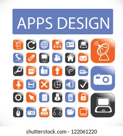app design icons set, vector