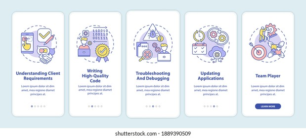 App developer skills onboarding mobile app page screen with concepts. Understanding client requirements walkthrough 5 steps graphic instructions. UI vector template with RGB color illustrations