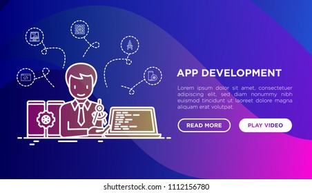 App development concept with thin line icons: writing code, multitasking, smart watch app, engineering, updates, cloud database, speed optimization. Modern vector illustration, web page template.