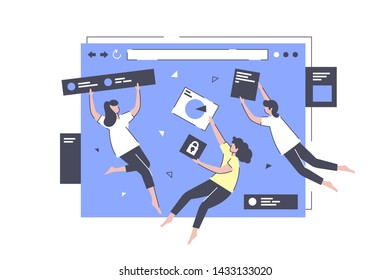 App development in flight vector illustration. Smart colleagues performing complicated task in creation of web application flat style. Website design concept