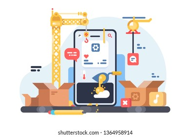 App development process vector illustration. Steps of creation website for social network flat style concept. Application user interface mobile design construction. Isolated on white