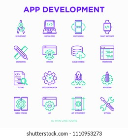 App development thin line icons set: writing code, multitasking, smart watch app, engineering, updates, cloud database, testing, speed optimization, API, mobile syncing. Modern vector illustration.