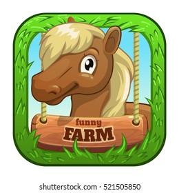 App icon with cute cartoon funny pony head. Farm game application store logo. Vector childish illustration.