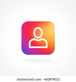 App icon follower symbol with smooth color gradient background template. Vector illustration inspried by instagram new logo. Vector illustration for your social media app design project and other.
