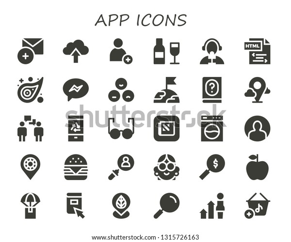 App Icon Set 30 Filled App Stock Vector (Royalty Free