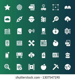 app icon set. Collection of 36 filled app icons included Earth, Pick, Apple, Video, Document, Searching, Editor, Menu, Upload, Big screen, Smartphone, Wireframe, Bones, Layout