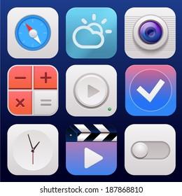 App icon set vector background