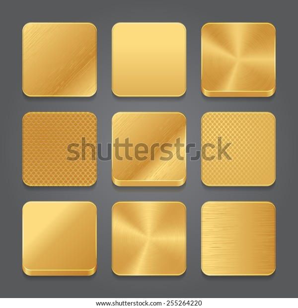 App Icons Background Set Golden Metal Stock Vector (Royalty