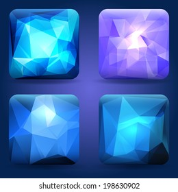 App icons or buttons templates set with modern crystal texture