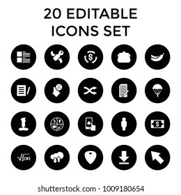 App icons. set of 20 editable filled app icons such as banana, purse, document, joystick, parachute, user, satellite, marketing. best quality app elements in trendy style.