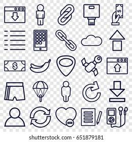 App icons set. set of 25 app outline icons such as payment, banana, minus favorite, guitar mediator, download, menu, cloud, camera, calendar on phone, money, document