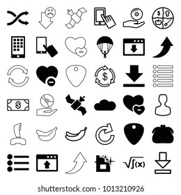 App icons. set of 36 editable filled and outline app icons such as finger on display, purse, minus favorite, window browser upload, download cloud, cloud, calendar on phone