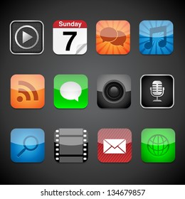 App Icons - Vector app icons on a black background.  Eps10 file with transparency.