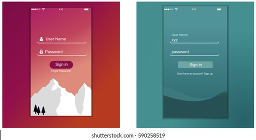app login screen, signup, sign in, password screen layout - vector eps10