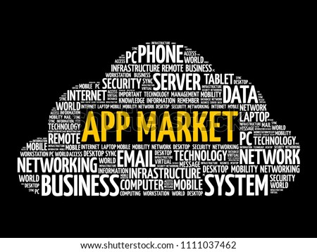 app market word cloud collage technology stock vector royalty free