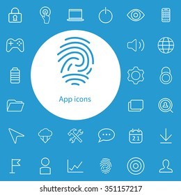 app outline, thin, flat, digital icon set for web and mobile
