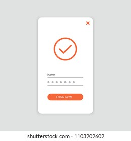 App screen with ok icon app, login screen, signup, sign in, password screen. Interface UX, UI GUI screen template. Vector eps illustration.