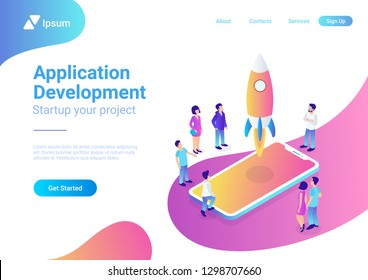 App startup mobile launching process flat 3d web isometric technology online service application internet business concept vector. Rocket space ship take off smartphone micro creative people.