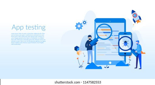 App Testing, Mobile application development process, Software API prototyping, Experienced Team-Vector Illustration,Graphic Design, mobile app building, Coding, programming. SEO. Search