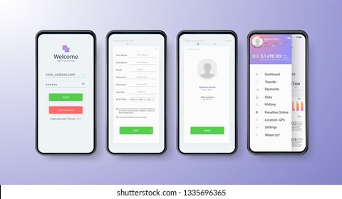 App UI Kit for responsive mobile app or website with different GUI layout including Login, Create Account, Profile, Transaction and Notification screens.