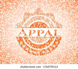Appal abstract emblem, orange mosaic background