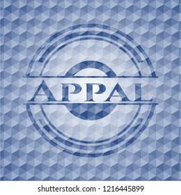 Appal blue emblem with geometric pattern background.